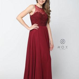 Illusion Neckline Sleeveless Long Dress Y009